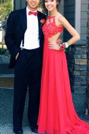 buy a line jewel sweep train open back red chiffon prom dress with