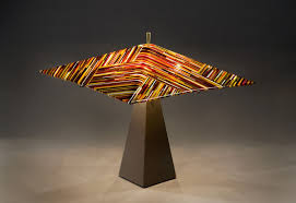 hand crafted fused glass lampshade by glass art of brookyln