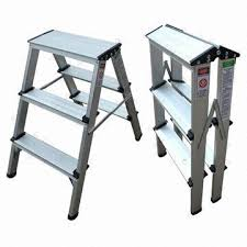 3 step aluminum double sided ladder 1 0mm thickness of aluminum