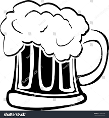 beer cartoon black and white glass beer fourth variant raster stock illustration 124507558