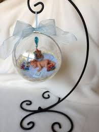 Baby Keepsake Ornaments A Baby Boy With His Bunny Polymer Clay 4