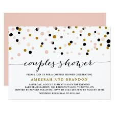 couples shower pink gold black confetti dots couples shower card zazzle