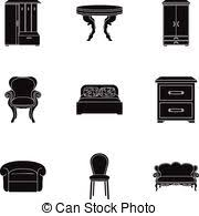 home interior vector clipart vector of classical home furniture icons set vector