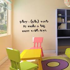 play pla verb make a big mess with toys baby nursery wall