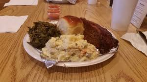 Southern Comfort Cafe Meatloaf With Bacon Strip Potato Salad And Collard Greens