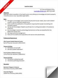 physician assistant resume curriculum vitae and cover letter