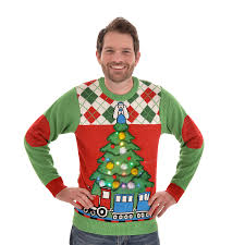 christmas tree jumper with lights tree and train light up christmas jumper unisex cheesy christmas