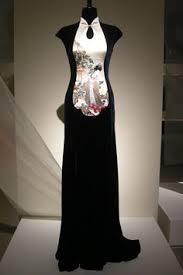 ne tiger contemporary chinese dress black velvet with bodice