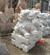 foo dog sculpture white marble caved lion foo dog fu dog statue for