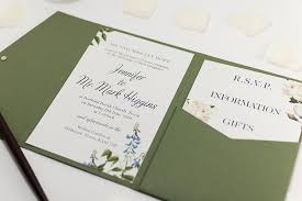 green wedding invitations botanic wedding invitation in olive green pocketfold wallet