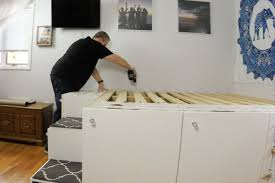 ikea kitchen cabinet storage bed ikea hack platform bed freestanding version handydadtv