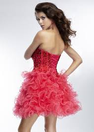 corset back ruffled red two tone sweetheart beaded homecoming
