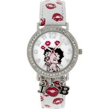 betty boop stone case with dangling charms character printed dial