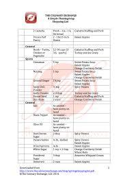 thanksgiving list of traditionalving dinner menulist menu