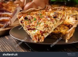 cuisine quiche lorraine pieces quiche lorraine bacon cheese stock photo 641109325