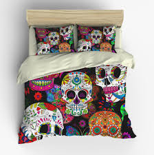 Day Of The Dead Bedding Sugar Skull Duvet Set Comforter Cover Bedding By Folkandfunky