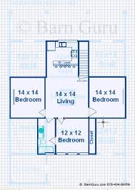Barn Plans With Living Quarters  Stalls  Bedrooms Design FP - Barn apartment designs