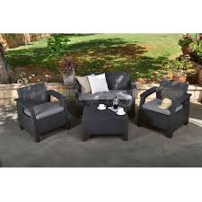 Plastic Loveseat Outdoor Contemporary Outdoor Coffee Table In Durable Black Plastic Rattan