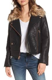 andrew marc beverly faux leather jacket with faux fur trim nordstrom