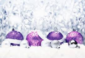 decorative christmas greeting with pretty purple baubles with