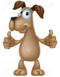 an illustration of a cute cartoon dog mascot character giving