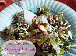 tangy kale salad with cranberries and almonds recipe i m not
