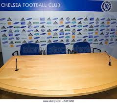 Football Conference Table Press Room Chelsea Football Club Stock Photos Press Room Chelsea