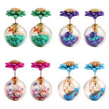 sided earrings 2017 luxury flower sided earrings for women gold plated