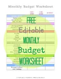 free printable monthly budget worksheet detailed budget