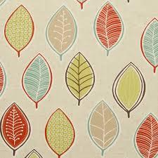 Upholstery Fabric San Diego Aqua Orange Leaf Upholstery Fabric Modern By Popdecorfabrics The