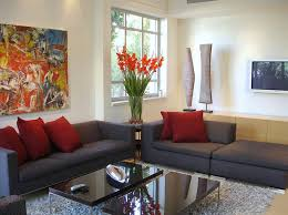home decor online stores cheap black leather sofa with brown cushions also grey bench table on