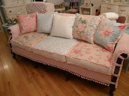 shabby chic slipcovered sofa vintage chenille and roses fabrics