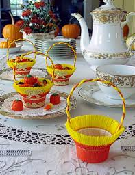 thanksgiving shop crepe paper nut cups orange and yellow favor