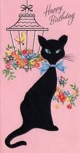 vintage birthday greeting card cute striped cat 1950 u0027s unused