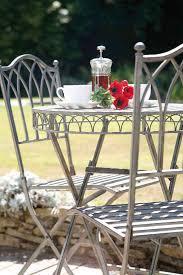 Grey Bistro Chairs Uk Gardens Ornate Grey Metal 3 Folding Garden Bistro Set