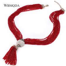 red stones necklace images Hot sale free shipping fashoin tassel pendant choker red white jpg
