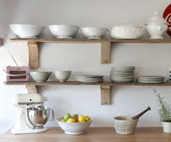 simple rustic unstained wooden wall shelf design ideas for kitchen