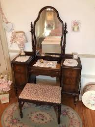 Antique Vanity With Mirror And Bench - gorgeous antique vanity with swing mirror u0026 bench forever pink