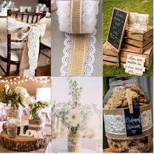 d coration mariage vintage 5x500cm natura jute burlap hessian lace ribbon roll white lace