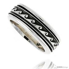 spinner rings sterling silver men s spinner ring wave design handmade 5 16 wide