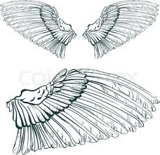 open bird wings icons for heraldic symbol or tattoo design usage