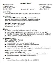 First Time Job Resume Examples by First Time Resume Template 10 Sample Job Resumes Free Sample