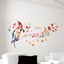 Music Note Colorful Feather Wall Decals Butterfly Pattern The Song - Design wall decal