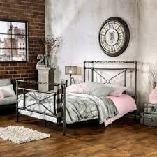 silver bed furniture of america porteno industrial brushed silver bed free
