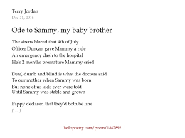 Deaf And Dumb And Blind And Born To Follow Ode To Sammy My Baby Brother By Terry Jordan Hello Poetry