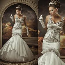 luxury designer wedding gowns crystal mermaid diamond bridal