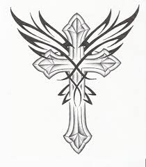 pin cross drawing and wings picture to