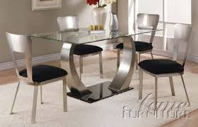 glass metal dining table dining table with glass top and metal base in chrome finish