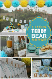 blue baby shower a blue and yellow teddy baby shower spaceships and laser beams