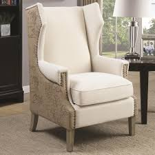 Patterned Accent Chair Coaster 902491 Wing Back Oatmeal Fabric Accent Chair With Map Print